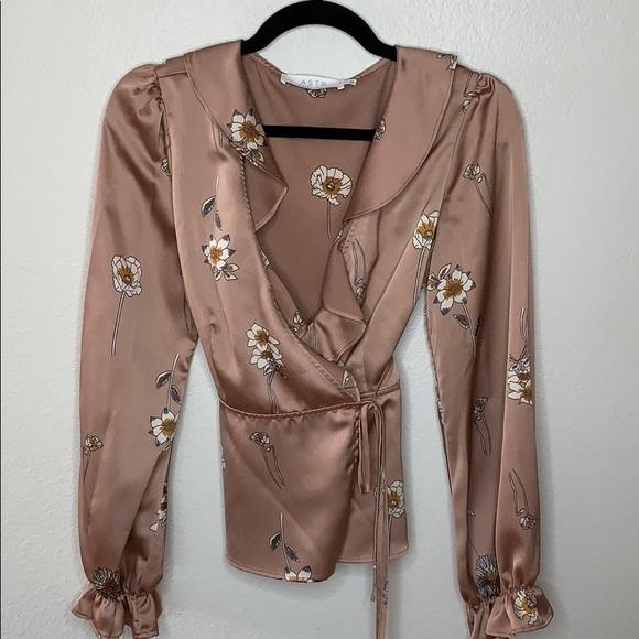 ASTR floral blush wrap blouse - medium